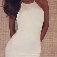 Casual Halter Neck Spaghetti Strap Backless Bodycon Midi Dress