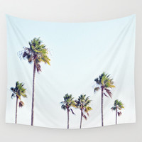 Fort De Soto Palms 2 - Wall Tapestry, Tropical Palm Trees Accent, Light Blue & Green Beach Surf Style Backdrop Landscape. Small Medium Large