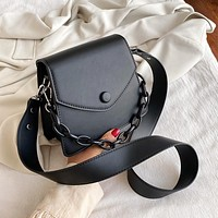 Solid Color Thick Chain Small PU Leather Crossbody Bags For Women 2021 Summer Shoulder Cross Body Bag Ladies Handbags