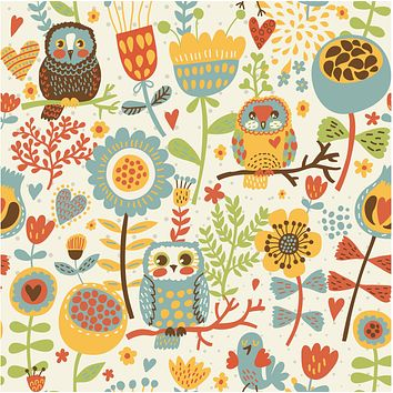Cartoon Owls For Kids Room Birds Flowers Multicolored Wallpaper Reusable Removable Accent Wall Interior Art (wal062)