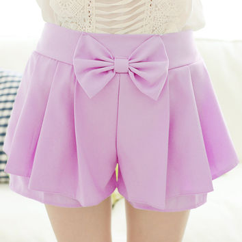 7 Colors Kawaii Sweet Cute Preppy style Soft Candy color bow summer pleated elastic waist casual chiffon shorts for women girls
