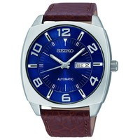 Men's Seiko Recraft Series Brown Leather Blue Dial Watch