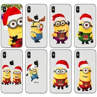Minions New Years Phone Case For iPhone 7 8 Plus Christmas Cartoon Funny Silicone Cover For iPhone 6 6s Plus X Xs Max Xr Case