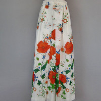 Vintage 70s Floral Sheer Maxi Skirt Garden Party Boho Hippie Hvidberg Design