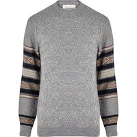 River Island MensGrey textured knit contrast sleeve sweater