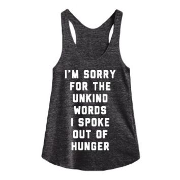 Sorry for The Unkind Words-Female Athletic Tri Black Tank