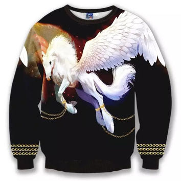 Flying Unicorn Crew Neck Sweatshirt Men & Women Gold Chains Unicorn In Space Harajuku Style All Over Print Black Sweater