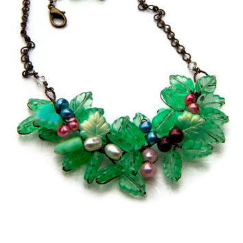 Green Flower Necklace Bib Necklace Nature by CherylParrottJewelry
