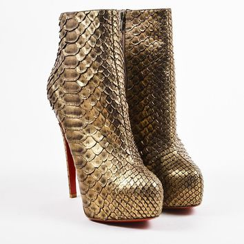 DCCK Christian Louboutin Bronze Python  Miss Clichy 160  Ankle Booties