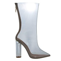 Ella1CR Transparent Clear See Through Dress Boot w Lucite Perspex Acrylic High Heel