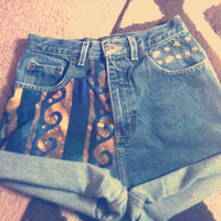 Mermaid Galaxy High Waisted Star Studded Vintage Shorts