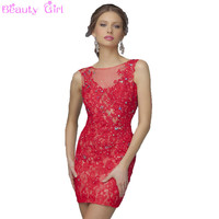 Red Black Lace  Appliques Short Homecoming Dress