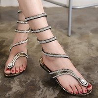 Faux Leather Strappy Roman  Gladiator Sandals Flat Shoes Summer flats flip flop = 5710715393