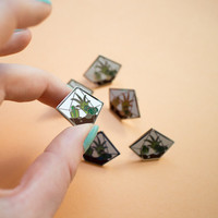 Diamond Terrarium Enamel Pin Badge Brooch