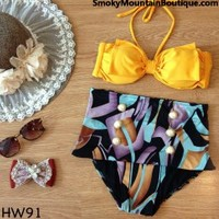 Vintage Retro High Waist Swimsuit Yellow Top and Black Multi-Color Bottom - Smoky Mountain Boutique