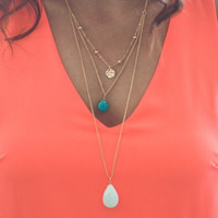 Layered Stone Necklace in Turquoise and White