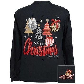 Girlie Girl Originals Merry Christmas Trees And Ornaments Long Sleeves T Shirt