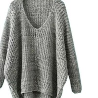 SheIn Womens Casual Loose Pullovers For Autumn Ladies Plain V Neck Long Batwing Sleeve Dip Hem Oversized Sweater