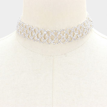 """13"""" silver crystal lace choker bib collar necklace bridal prom pageant .90"""" wide"""