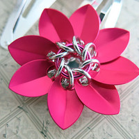 Pink Scale Chainmaille Flower Barrette Set - Pink Flower Clips