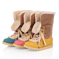 Lace Up Flat Snow Boots Fur Lining Ankle Boots 3969