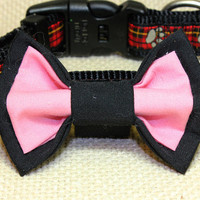 Medium Sized Black and Salmon Color Dog Bowtie. Cotton Puppy Bow Tie for Special Occasions. Cat Bowtie Black and Light Pink Pet Clothes.