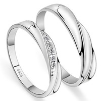 18k White Gold Plated Twist Design Couple Style Band Ring (Men's or Women's)