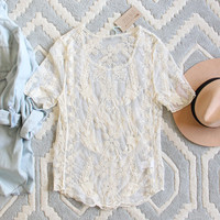 The Lace Basic Tee in Cream