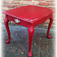 shabby chic end table, distressed red side table, french country accent table, country cottage table, distressed accent table, red table