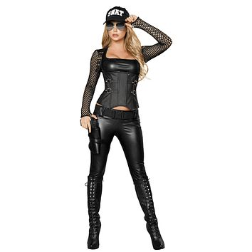 Sexy Police Swat Team Leader Girl Halloween Costume