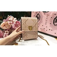 DIOR Popular Women Leather Metal Chain Buckle Shoulder Bag Mobile Phone Package Satchel Crossbody Pink I-QS-MP-JZLB