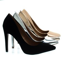 Cadence1 Black By Bonnibel, Classic High Heel Pump w Pointed Toe, Stiletto Heel & Padded Sole