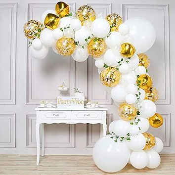 PartyWoo Gold and White Balloons, 84 pcs of Vine Leaves, Giant White Balloons, Gold 4D Balloons, Gold Confetti Balloons, Transparent Balloons for Rustic Wedding Decorations, White Party Decorations