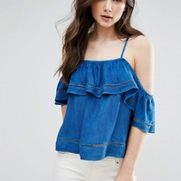 QED London Frill Denim Crop Top at asos.com