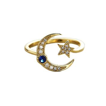 Star and Moon Adjustable Ring