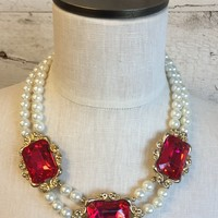 Pink and Pearls Necklace