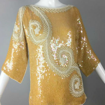 ViNtAgE Pearl & Iridescent Sequin Top Silver Beaded  Deco Gatsby Cocktail Party Deco Trophy Dress Gold Silk Blouse evening