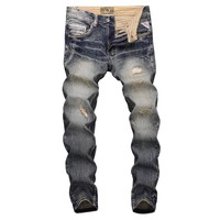 Fashion Streetwear Men Jeans Slim Fit Destroyed Ripped Jeans For Men Vintage Design Patch Embroidery