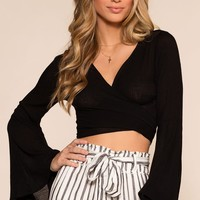 Coastin' Wrap Top - Black