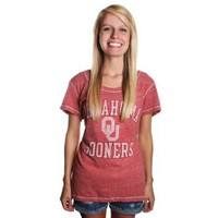 Gear For Sports Women's Triblend Scoop OU Shirt Cardinal