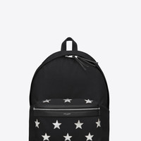 SAINT LAURENT CLASSIC HUNTING CALIFORNIA BACKPACK IN BLACK NYLON AND SILVER METALLIC LEATHER | YSL.COM