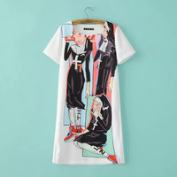 White Cartoon Print Short-sleeve Dress