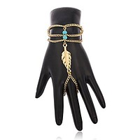 Goldtone with Turquoise Leaf Design Hand Chain Bracelet