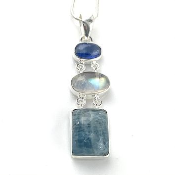 Kyanite, Moonstone & Aquamarine Sterling Silver Hinged Pendant