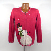 Ugly Christmas Sweater Vintage Cardigan Snowman Holiday Tacky Women's size S