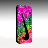 Nike Just Do It  Rainbow Sparkle Glitter Printed - Photo On Hard Cover - For iPhone 4/4S And iPhone 5 Case - Choose an Option on Right Side