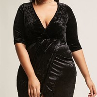 Plus Size Crushed Velvet Surplice Dress