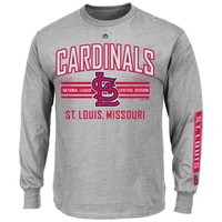 Majestic St. Louis Cardinals 1st to 3rd Long Sleeve T-Shirt - Gray