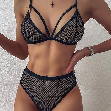 Strap Fashion Mesh Hollow Out Underwear Lingerie Bra