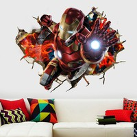 3D Avenger Union Wall Stickers Iron Man Children 's Room Background Wall Sticker Retro Superhero Waterproof Movie Wall Sticker